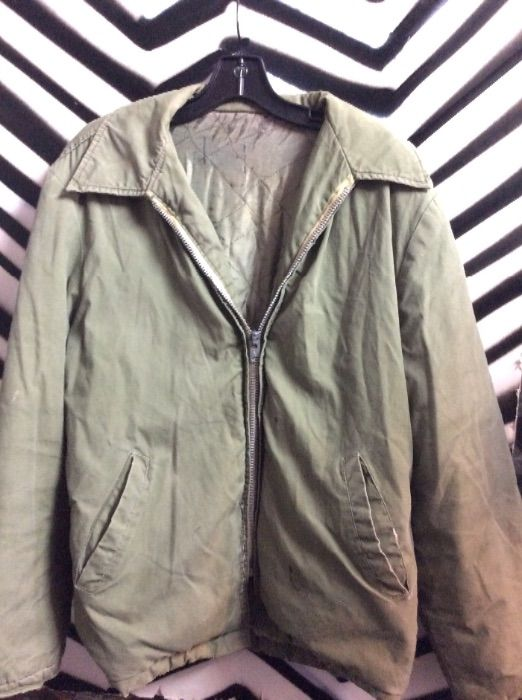MILITARY JACKET PUFFY ZIPPER FRONT AS IS 1