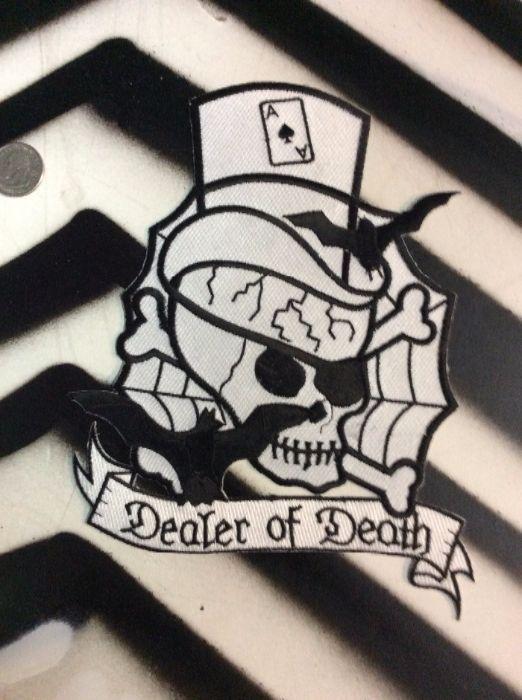 LARGE BACK PATCH- DEALER OF DEATH SKULL W/ TOP HAT 1