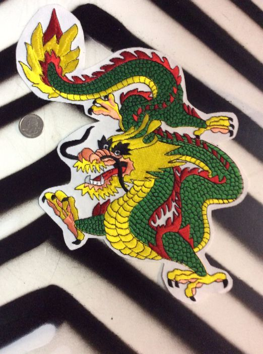 LARGE BACK PATCH- DRAGON YELLOW FACE, GREEN & WHITE 1
