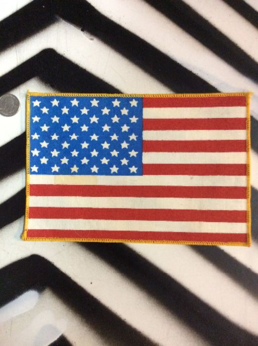 LARGE BACK PATCH- AMERICAN FLAG YELLOW STITCHING ON SIDES *OLD STOCK 1