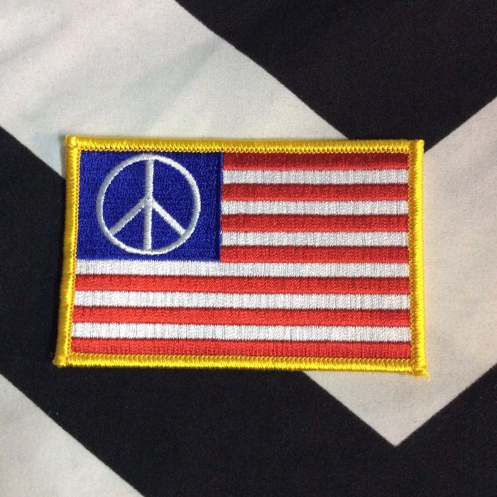 BW PATCH- AMERICAN FLAG PEACE SIGN PATCH 1