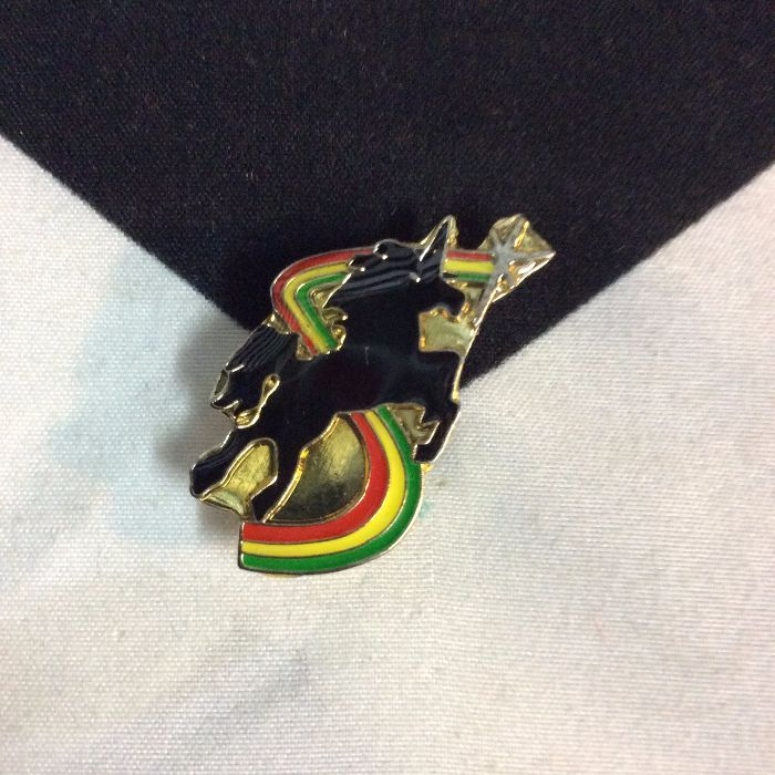 BW PIN- Flying Unicorn Jumping over Rainbow 1