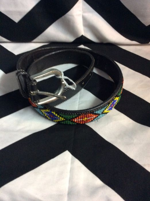 Heavy Leather Belt W/ Fully beaded section 1