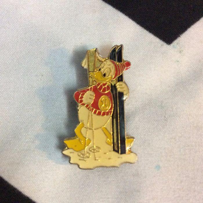 Disney's Donald Duck SKIING Vintage Enamel Pin 1