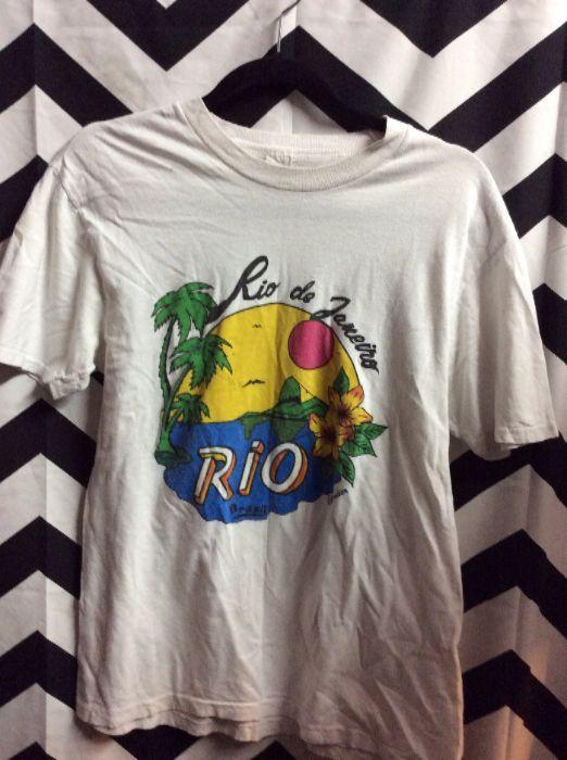 RIO DE JENEIRO BEACH SCENE TSHIRT 1