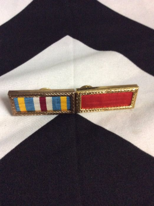 Military Pin gold boxes w/ stripes and red 1