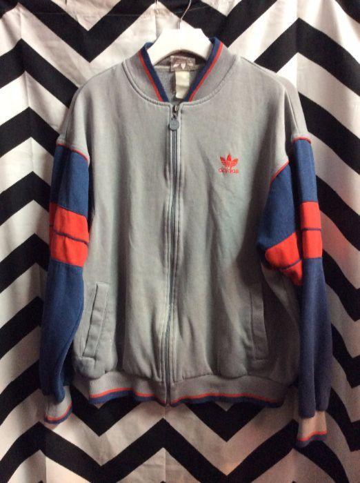 Retro Track Style Gray w/Red Blue Trim Cotton ADIDAS Jacket 1