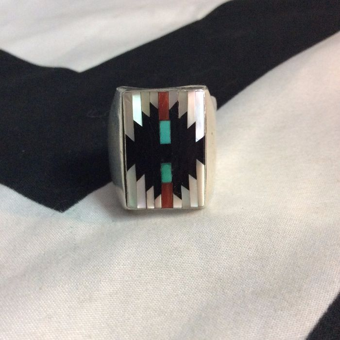 Vintage Sterling Silver Zuni INLAY Ring Rectangle *Signed 1