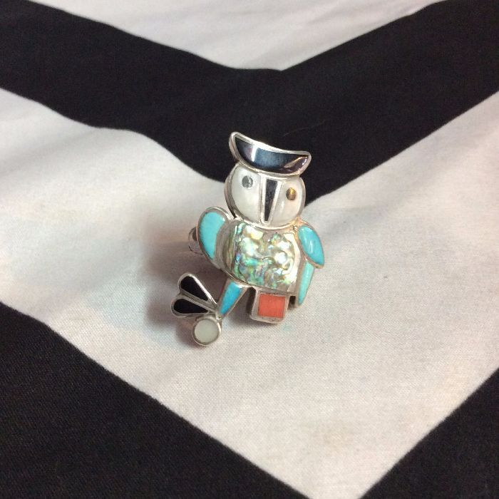 STERLING SILVER INLAY OWL RING (turquoise, coral, onyx, abalone) 1