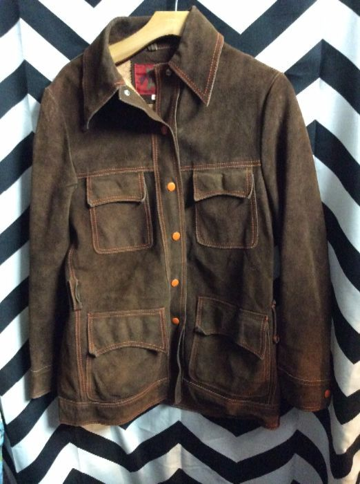 SUEDE 1970S SNAP BUTTON JACKET SILK LINED 1