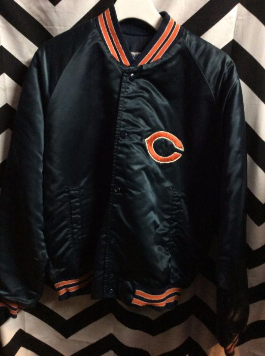 SATIN BASEBALL JACKET CHICAGO BEARS BACK LETTERS 1