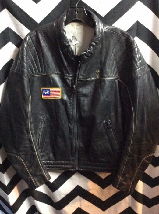 1970S LEATHER MOTORCYCLE CAFE RACER JACKET BMW LOGO 76 AMERICAN FLAG PATCH 1