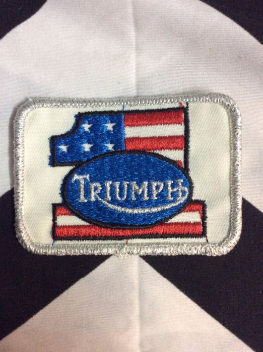 *Deadstock Triumph #1 America Flag Square Silver Sparkle Patch *old stock 1