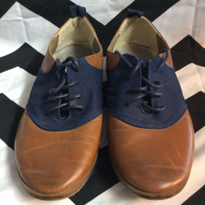 Restricted Brown Leather and Blue Canvas Shoes 1