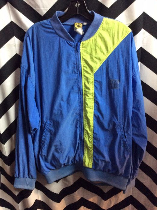 1980S-90S NEON BODY GLOVE WINDBREAKER NEOPRENE CUFFS LARGE BACK PRINT 1