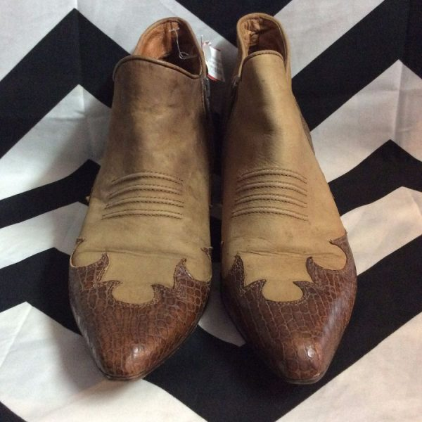BROWN LOW RISE BOOTS WITH CROCODILE DETAIL 2-67 1