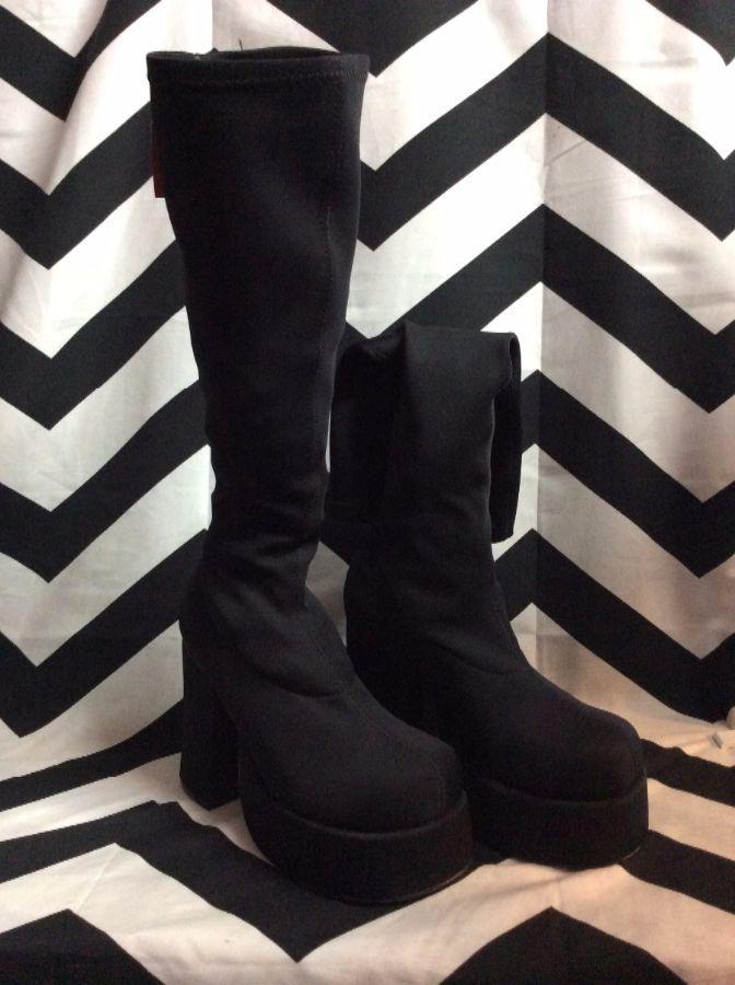 Tall Black Nylon Boots High Heels 1