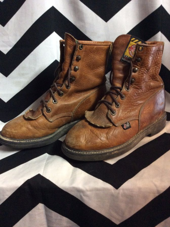 LEATHER LACE UP ROPER WORK BOOTS SIZE 7 3