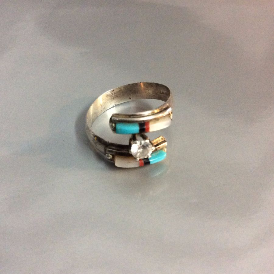 Little Inlayed Turquoise MOP layered Ring Diamond Set Signed 1