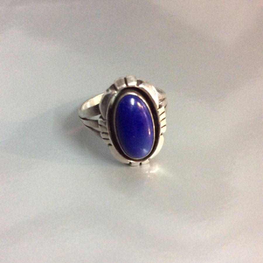 Little Blue Lapis Stone Signed D Sterling 1