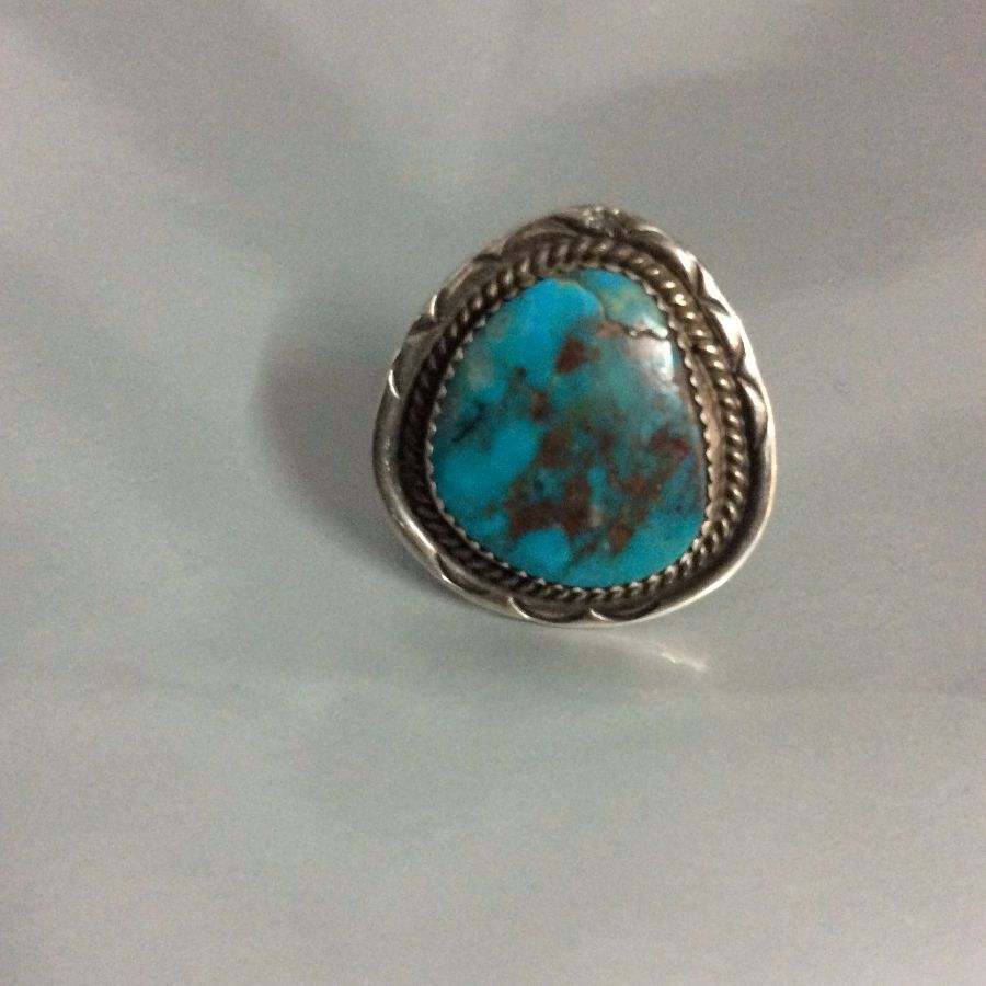 Bright Turquoise Ring Sterling Silver Setting Signed JM 1