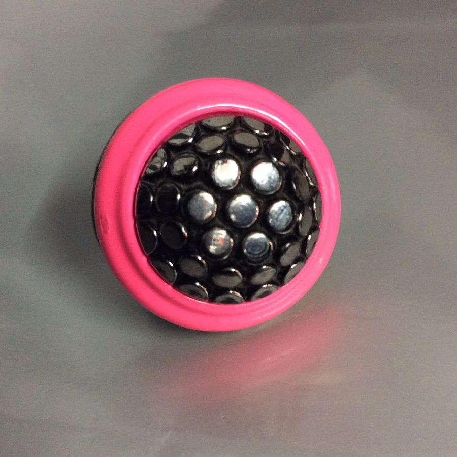 Neon Pink Ice Drop Glass Button Cocktail Ring 1