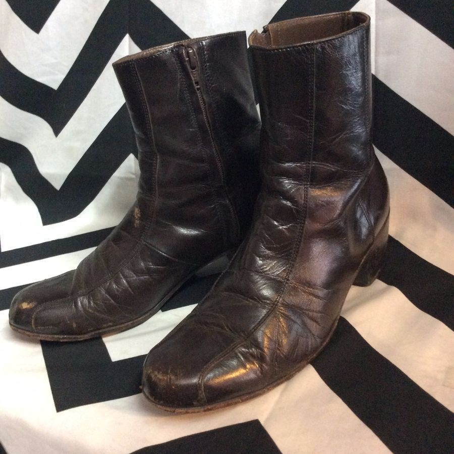 LEATHER ANKLE CHELSEA BOOTS SIDE ZIP 2