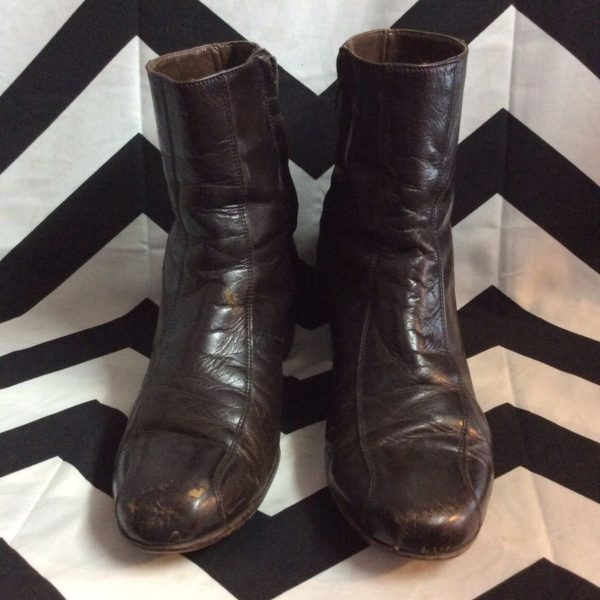LEATHER ANKLE CHELSEA BOOTS SIDE ZIP 1