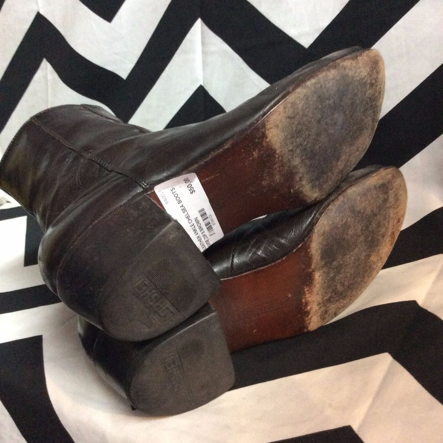 LEATHER ANKLE CHELSEA BOOTS SIDE ZIP 4
