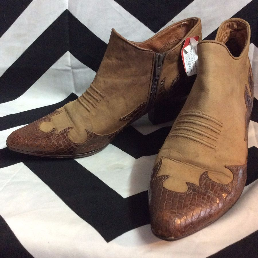 BROWN LOW RISE BOOTS WITH CROCODILE DETAIL 2-67 2