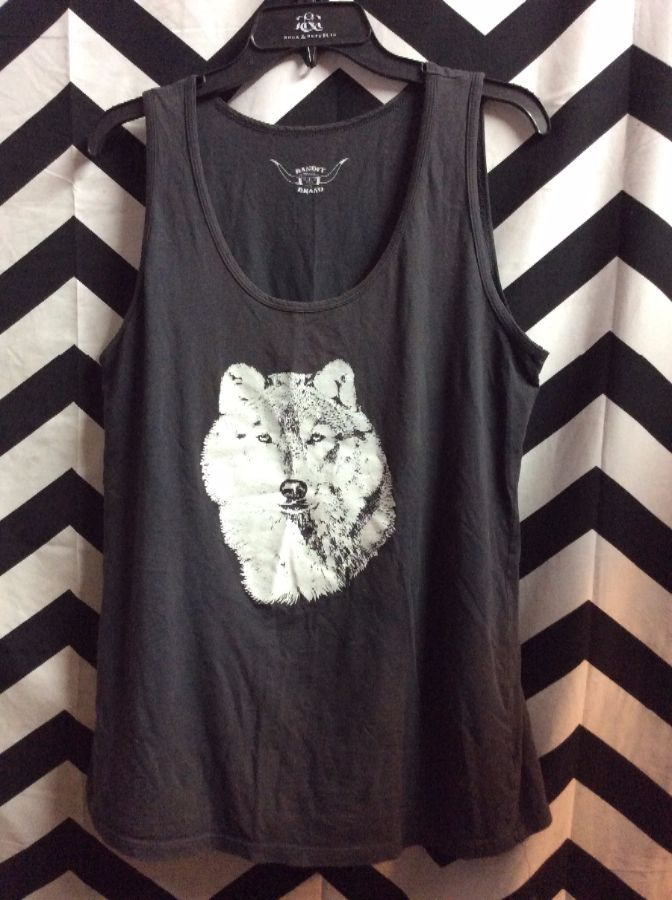 WHITE WOLF HEAD GRAPHIC TANK TOP 1