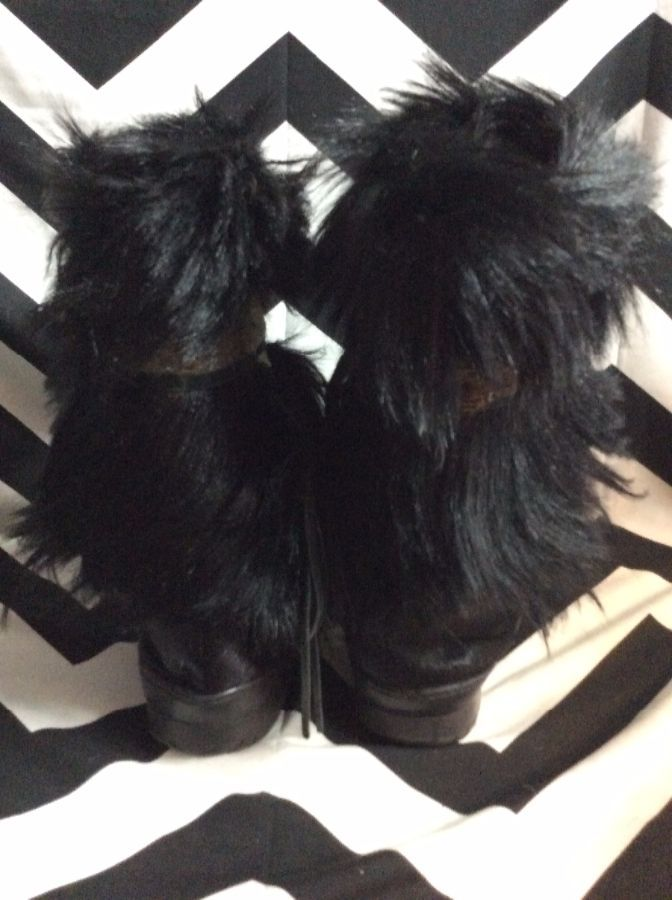 SHAGGY GOAT FUR BOOTS RUBBER SOLE FEATHER BAND as-is 3