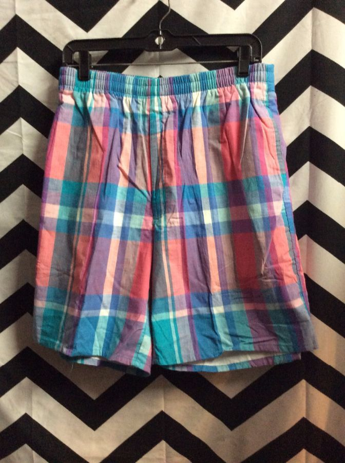 PASTEL PLAID PINK BLUE WOOLRICH SHORTS *DEADSTOCK 1