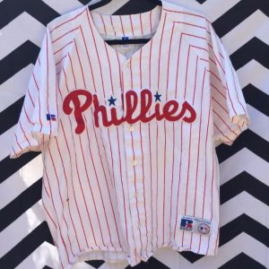 SS BASEBALL JERSEY COTTON PINSTRIPES PHILLIES STITCHED as-is 1