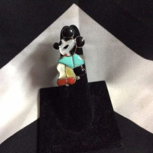 Zuni Toons, Mickey Mouse Turquoise Stone Ring *signed Mary Ann Poncho 1