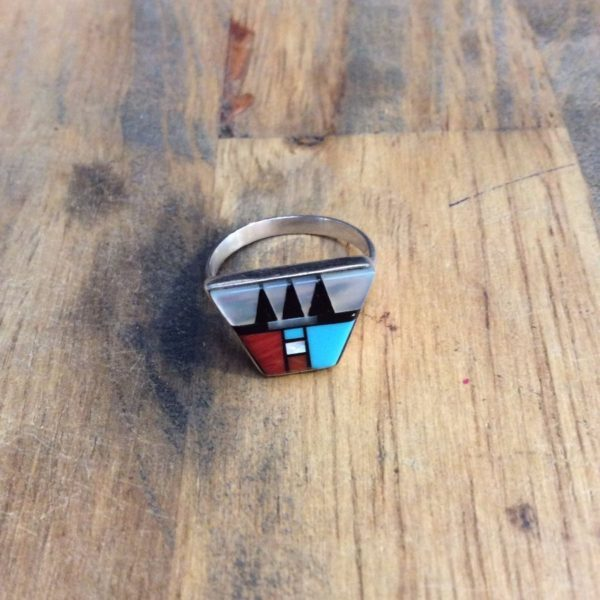 AZTEC DESIGN STERLING SILVER RING 1