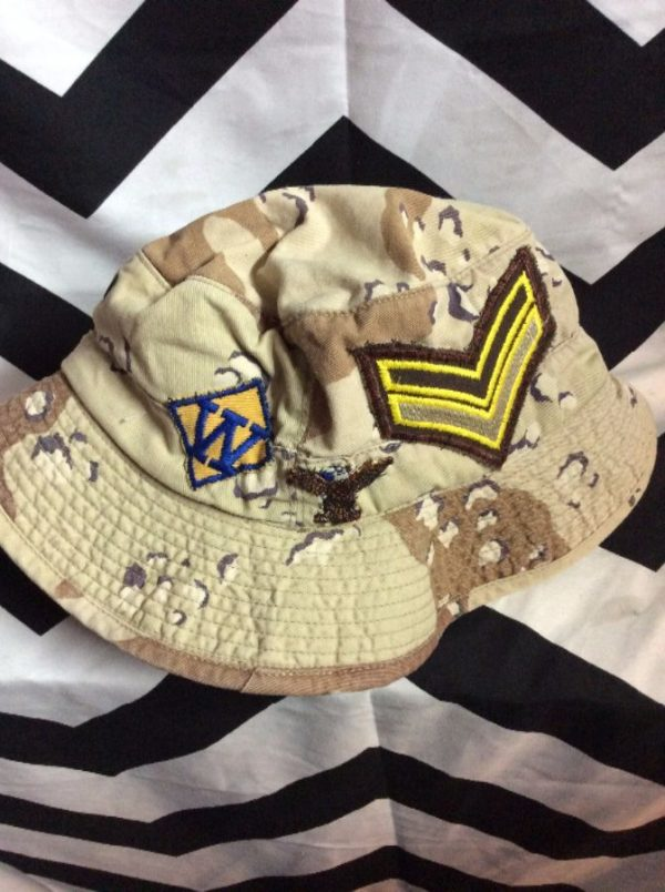 BUCKET HAT DESERT CAMO with Patches 2