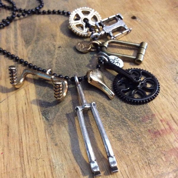 THE AMSTERDAM BIKE PILE MULTI CHARM BIKE PART NECKLACE 1