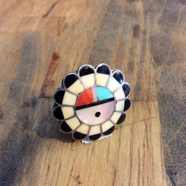 Zuni Inlay SUNFACE RING Sterling Silver 925 1