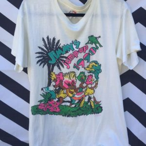 TSHIRT SOFTY JIMMY BUFFET JIMMY'S JUMP-UP 1990 NEON GRAPHIC 1