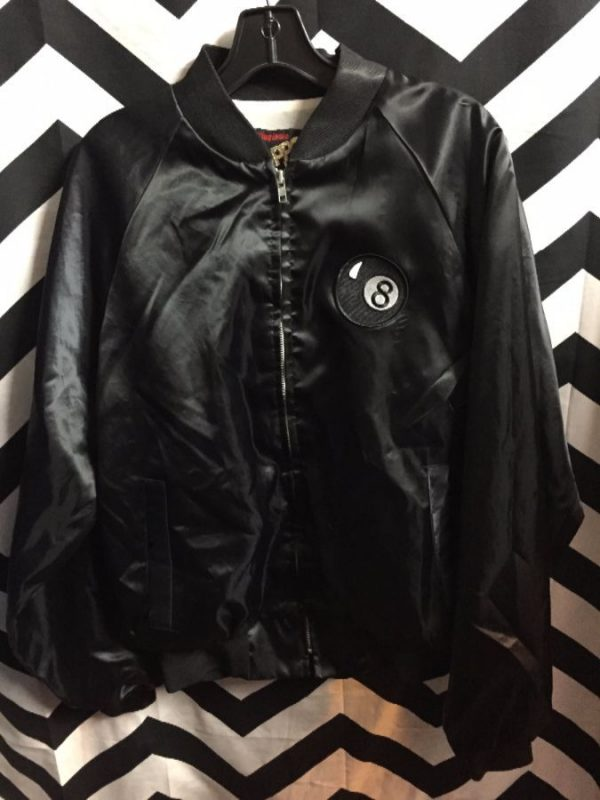 DARE Satin Zip-up jacket w/ Eightball patch on front #irony 1