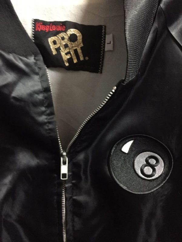 DARE Satin Zip-up jacket w/ Eightball patch on front #irony 4