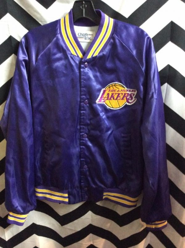 NBA Los Angeles Lakers Satin button up jacket w/ Letters on back 1