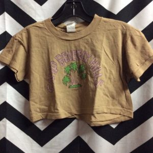 *deadstock 90s COTTON CROP TOP CAMP BEVERLY HILLS 1977 TAN M 1