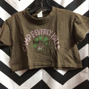 *deadstock 90s COTTON CROP TOP CAMP BEVERLY HILLS 1977 BRWN S 1