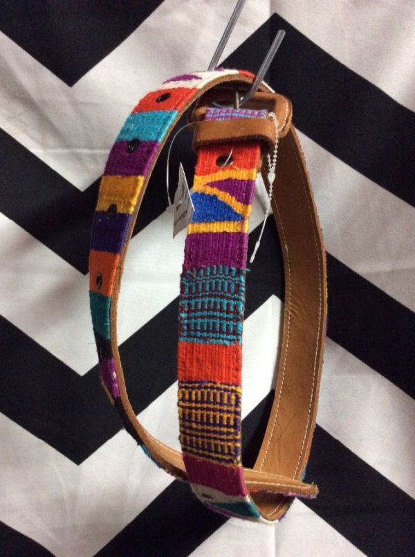 LEATHER & WOVEN MEXICAN BELT 1