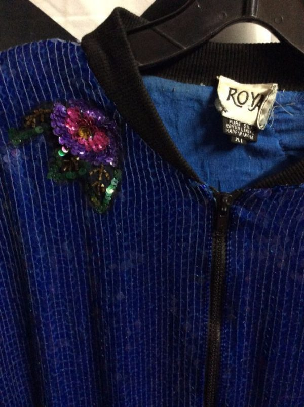Blue sequin zipup jacket with floral sequin embellishments 4