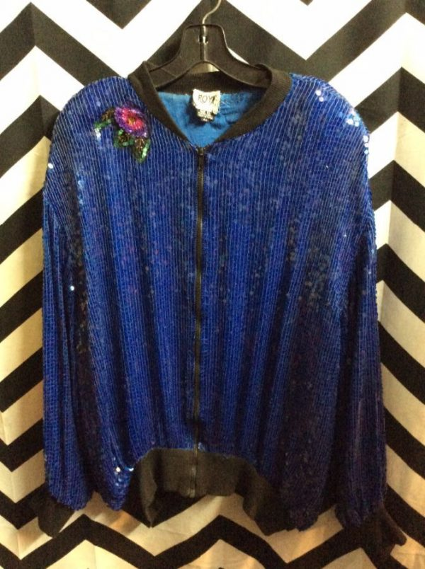Blue sequin zipup jacket with floral sequin embellishments 1