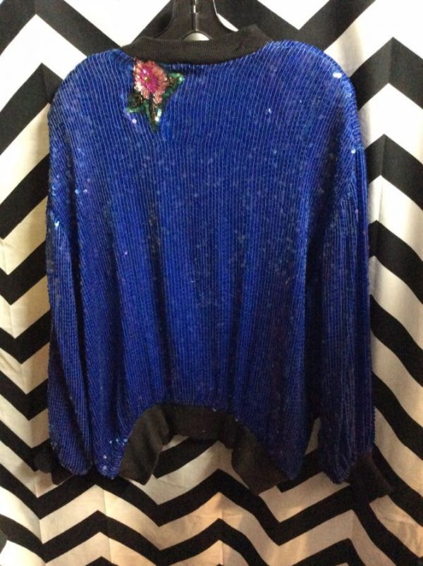 Blue sequin zipup jacket with floral sequin embellishments 2