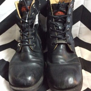 HARLEY DAVIDSON LEATHER LACE UP BOOT SIDE ZIP 1